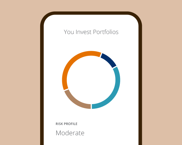 Mobile phone showing an investment portfolio